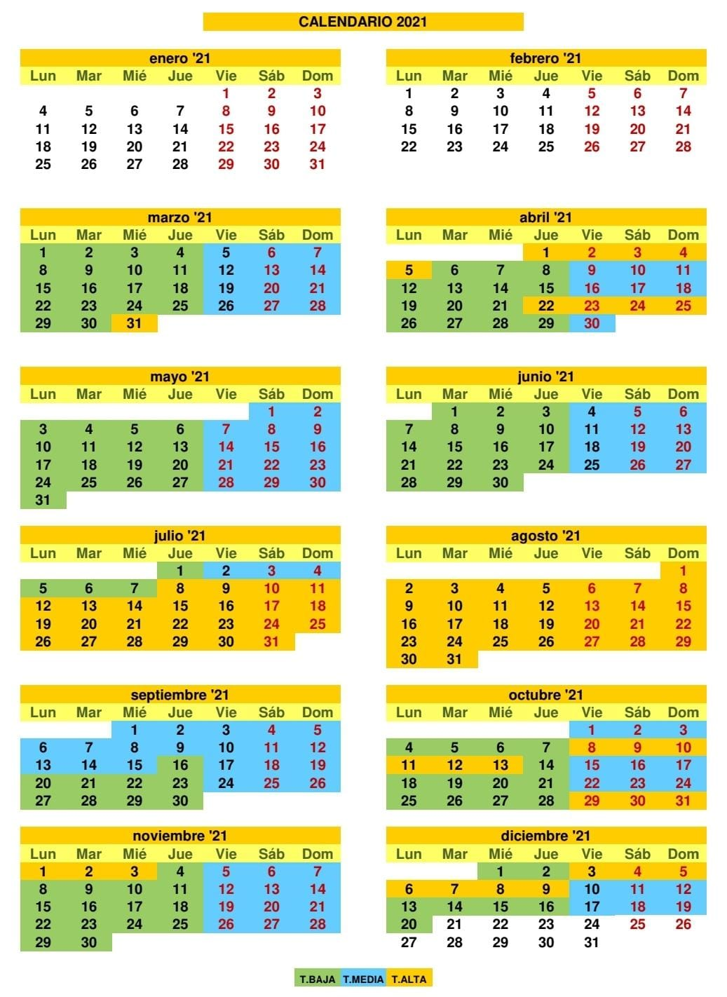 Calendario Camping 2021
