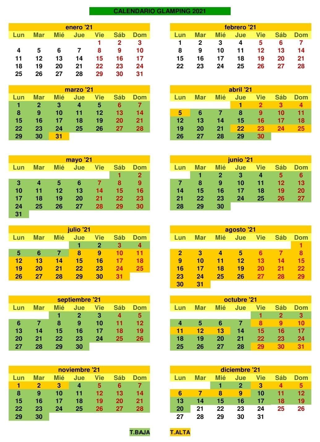 Calendario Glamping 2021