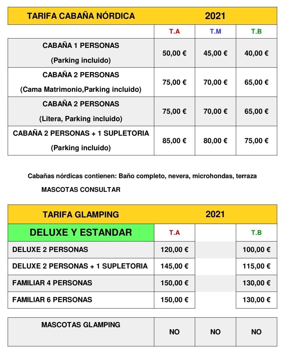 Tarifas Glamping 2021